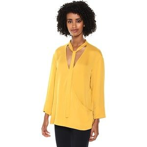 NEW Theory Silk Relaxed Yellow Wrap V Neck Blouse